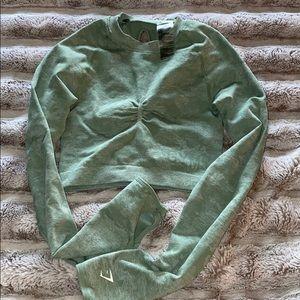Gymshark camo sage dry fit crop top